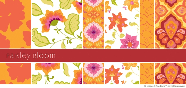Paisley Bloom artwork now available on gift bags and gift wrap through The Giftwrap Company.