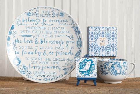 Blue-white-ceramics-wall-art